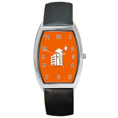 Building Orange Sun Copy Barrel Style Metal Watch