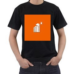 Building Orange Sun Copy Men s T-Shirt (Black) (Two Sided)