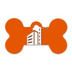 Building Orange Sun Copy Dog Tag Bone (Two Sides)