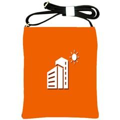 Building Orange Sun Copy Shoulder Sling Bags