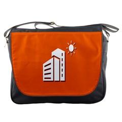Building Orange Sun Copy Messenger Bags