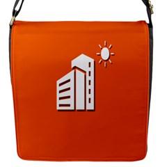 Building Orange Sun Copy Flap Messenger Bag (S)