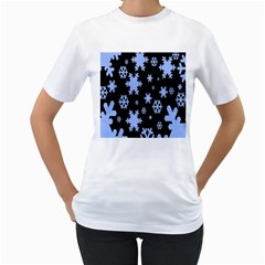Blue Black Resolution Version Women s T-Shirt (White) (Two Sided)