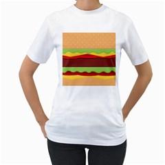 Cake Cute Burger Copy Women s T-Shirt (White) (Two Sided)