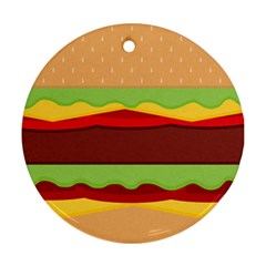 Cake Cute Burger Copy Round Ornament (Two Sides)