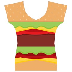 Cake Cute Burger Copy Women s V-Neck Cap Sleeve Top