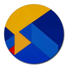 Box Yellow Blue Red Round Mousepads