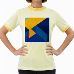 Box Yellow Blue Red Women s Fitted Ringer T-Shirts