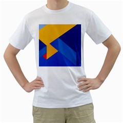Box Yellow Blue Red Men s T-Shirt (White) (Two Sided)