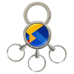 Box Yellow Blue Red 3-Ring Key Chains
