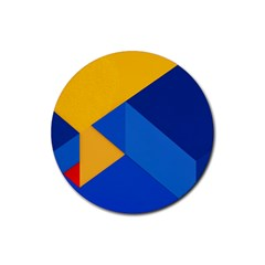 Box Yellow Blue Red Rubber Round Coaster (4 pack)
