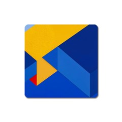 Box Yellow Blue Red Square Magnet