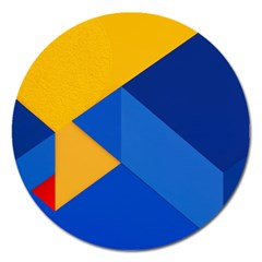 Box Yellow Blue Red Magnet 5  (Round)