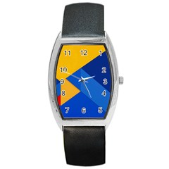 Box Yellow Blue Red Barrel Style Metal Watch