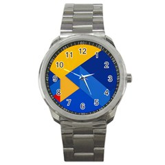 Box Yellow Blue Red Sport Metal Watch