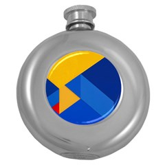 Box Yellow Blue Red Round Hip Flask (5 oz)