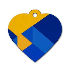 Box Yellow Blue Red Dog Tag Heart (Two Sides)