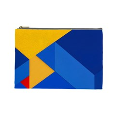 Box Yellow Blue Red Cosmetic Bag (Large)