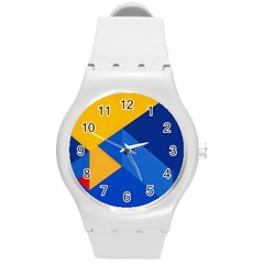 Box Yellow Blue Red Round Plastic Sport Watch (M)