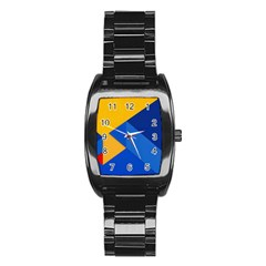Box Yellow Blue Red Stainless Steel Barrel Watch