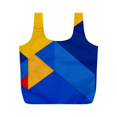 Box Yellow Blue Red Full Print Recycle Bags (M)