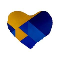 Box Yellow Blue Red Standard 16  Premium Flano Heart Shape Cushions
