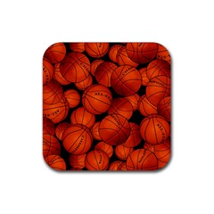 Basketball Sport Ball Champion All Star Rubber Square Coaster (4 pack)