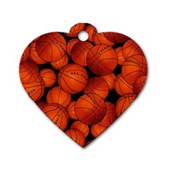 Basketball Sport Ball Champion All Star Dog Tag Heart (One Side)