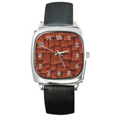 Chocolate Square Metal Watch