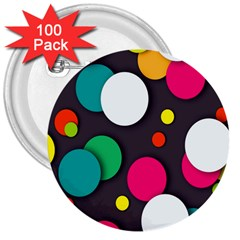 Color Balls 3  Buttons (100 pack)