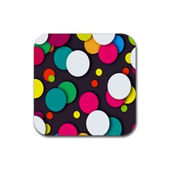 Color Balls Rubber Square Coaster (4 pack)