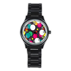 Color Balls Stainless Steel Round Watch
