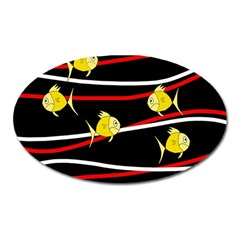 Five yellow fish Oval Magnet