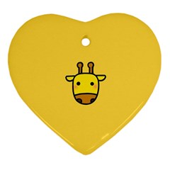 Cute Face Giraffe Heart Ornament (2 Sides)