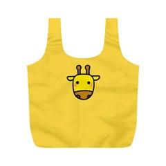Cute Face Giraffe Full Print Recycle Bags (M)