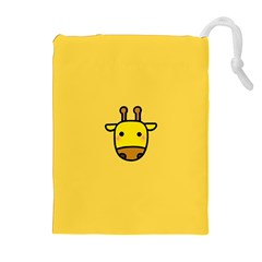 Cute Face Giraffe Drawstring Pouches (Extra Large)