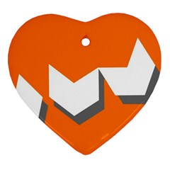Cute Orange Chevron Ornament (Heart)