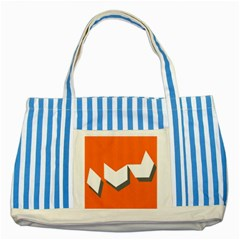 Cute Orange Chevron Striped Blue Tote Bag