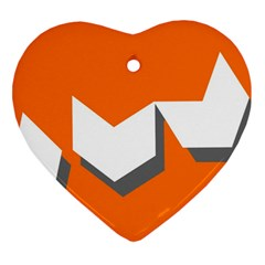 Cute Orange Chevron Heart Ornament (2 Sides)