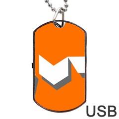 Cute Orange Chevron Dog Tag USB Flash (Two Sides)
