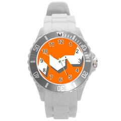 Cute Orange Chevron Round Plastic Sport Watch (L)