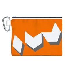 Cute Orange Chevron Canvas Cosmetic Bag (L)