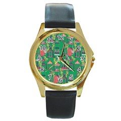 Animal Cage Round Gold Metal Watch