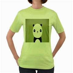 Cute Panda Animals Women s Green T-Shirt