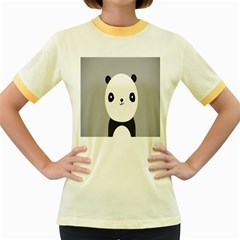 Cute Panda Animals Women s Fitted Ringer T-Shirts