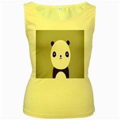 Cute Panda Animals Women s Yellow Tank Top