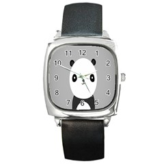 Cute Panda Animals Square Metal Watch