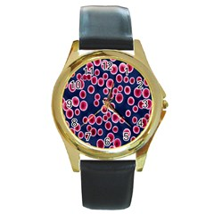 Cute Red Ball Round Gold Metal Watch