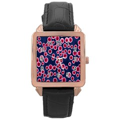 Cute Red Ball Rose Gold Leather Watch