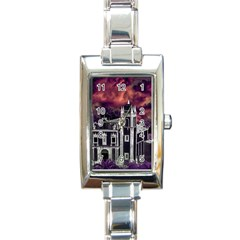 Fantasy Tropical Cityscape Aerial View Rectangle Italian Charm Watch